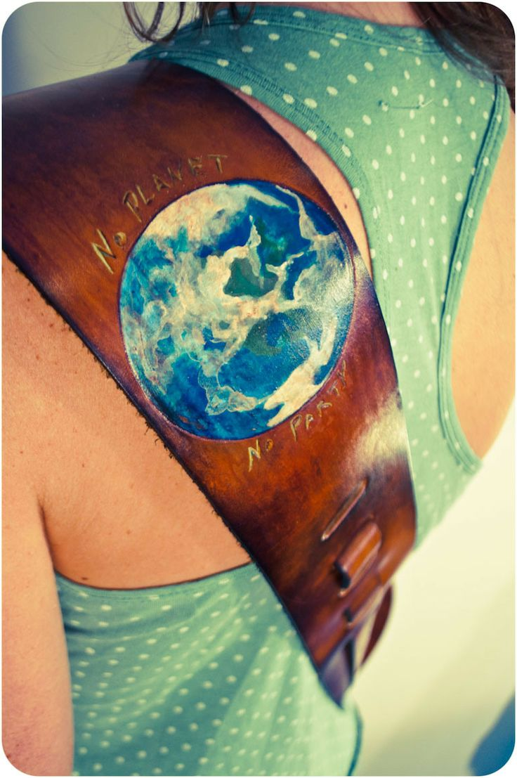 The earth custom painted leather guitar strap