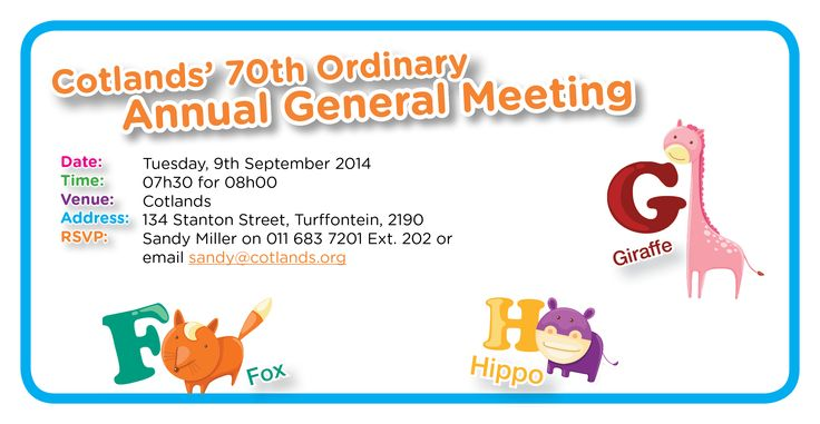 It's time for our Annual General Meeting again.