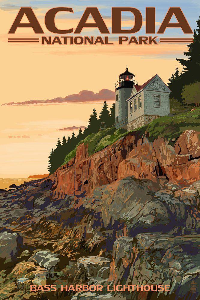 Acadia National Park, Maine - Bass Harbor Lighthouse Travel Poster #affiliate
