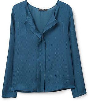 Womens petrol blue polka-dot print blouse from Mango - £29.99 at ClothingByColour.com
