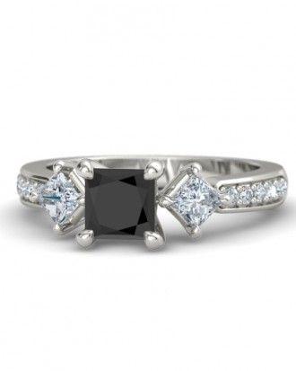 "Princess cut black diamond ""Caroline"" ring with white diamond accents set in 14k white gold, $1,802; gemvara.com."