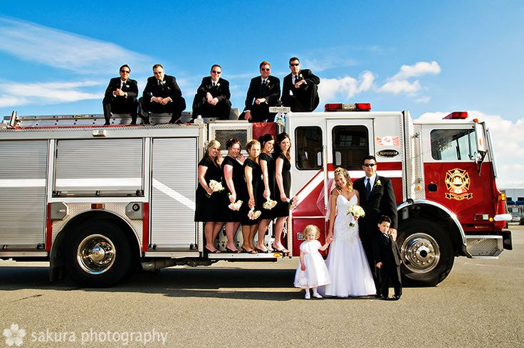 wedding photos ideas...I KNOW josh would love to do this!! he wants us to ride in the firetruck lol