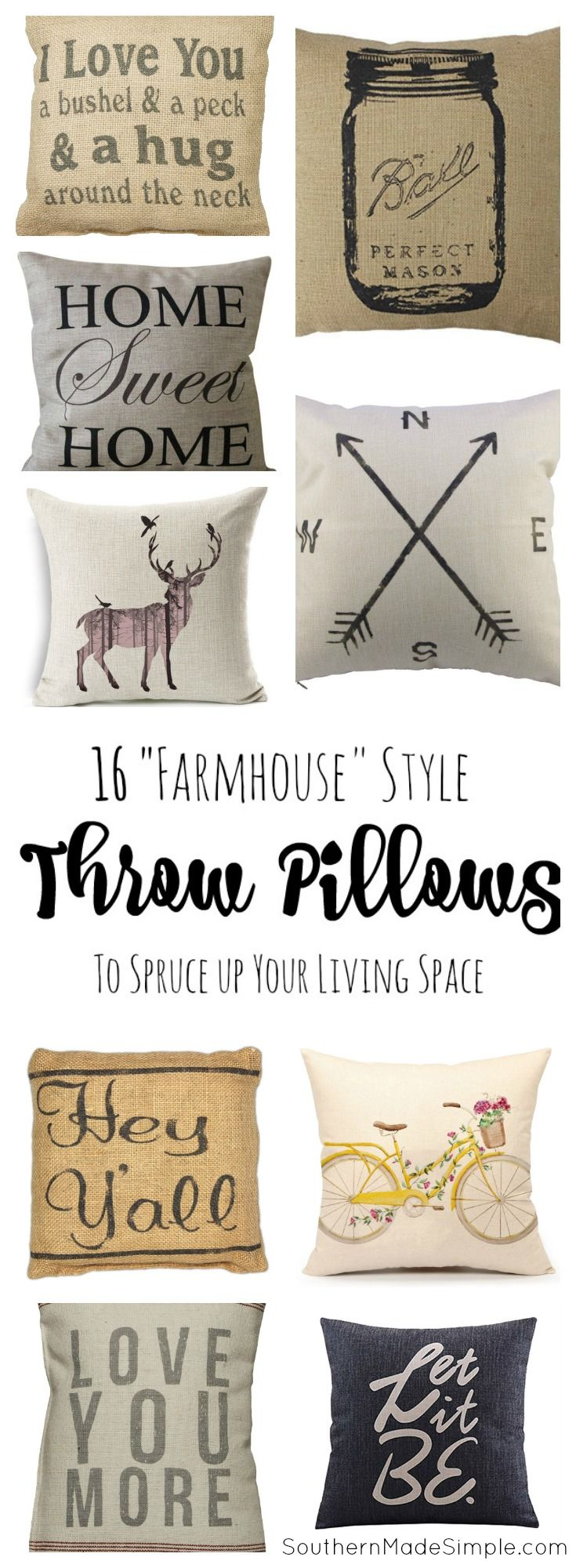 16 Farmhouse Style Throw Pillows to Spruce up your living space - all available…