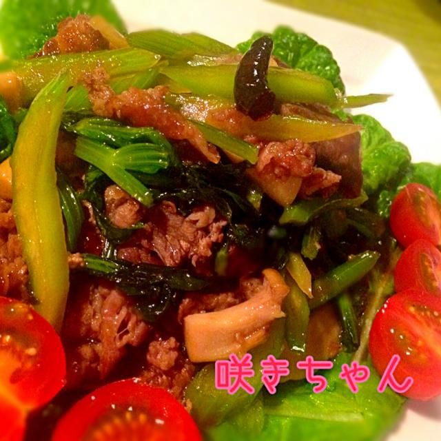 セロリが葉っぱまで食べられます ちゃちゃっと出来てご飯にも合います - 159件のもぐもぐ - 牛肉とセロリのピリ辛エスニック炒め by sakichan63