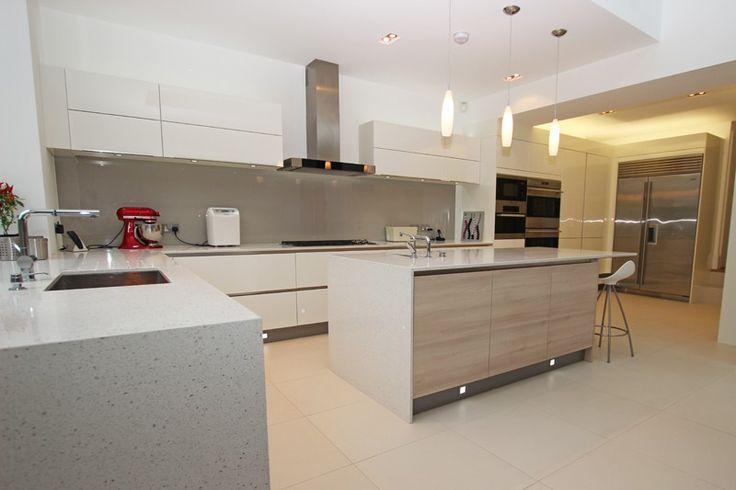 Large modern handleless kitchen