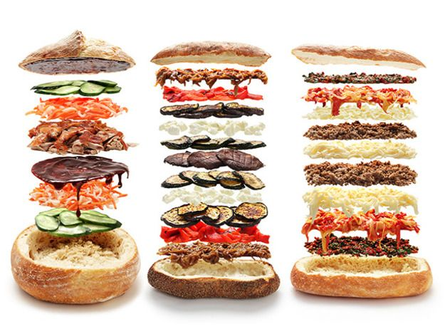 4 Close-Up, High-Def, Insanely Awesome Shooter's-Style Sandwiches, The idea of a party-sized, ultra-pressed sandwich is so appealing that I've spent the last few weeks brainstorming and testing recipes for versions of shooter's-style sandwiches that actually work. Check out our awesome interactive infographic to take a look at four of my favorites and get an up-close and personal look at what's in between the buns.\n