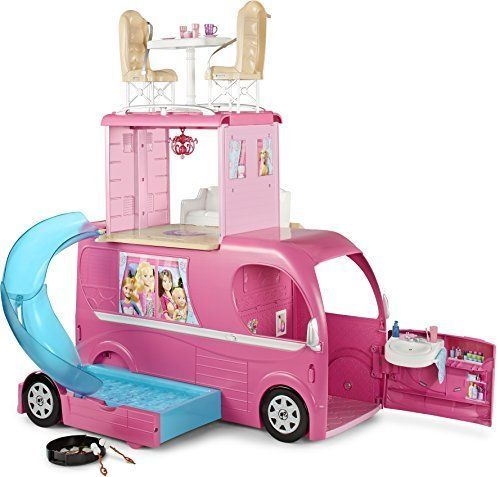 Barbie CJT42 Pop-Up Camper Vehicle, BARBIE CAMPER VAN, BARBIES TOYS PLAYSET #Barbie