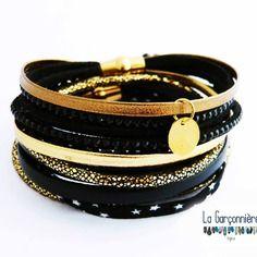 Bracelets avec 2 fermoirs en acier inoxydable, cuir, liberty suédine, modulables 3 tours, noir et or, 2 fermoirs aimanté doré,