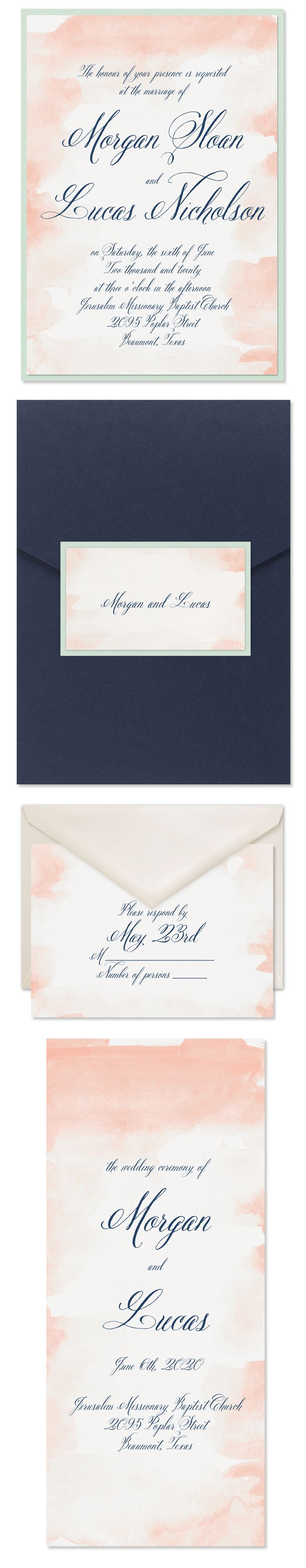 Romance spills off this watercolor invitation Add