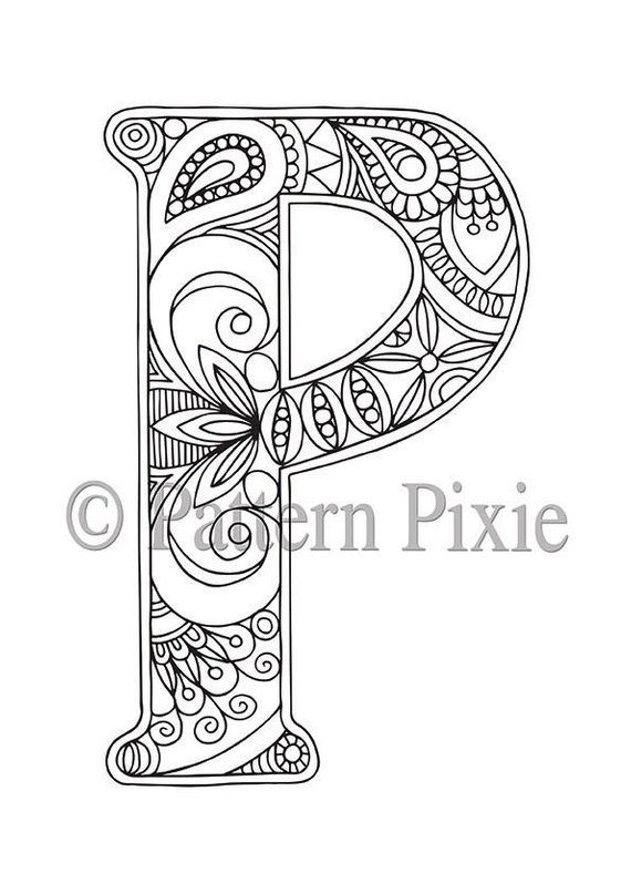 Adult Colouring Page Alphabet Letter \p\ Wall Design Lettering Rhpinterest: Coloring Pages For Letter P At Baymontmadison.com