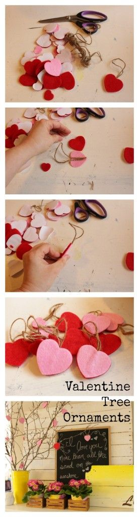 Make a Valentines tree with branches and easy felt sticker ornaments - The Happy Housir