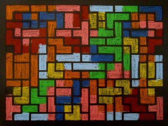 JEU VIDEO - SUPERPOSITIONS Alice Maynard Pastel à l'huile et papier découpé ; 40*50 cm ; 2015. On retrouve ici le motif du jeu vidéo Tetris qui m'avait déjà inspiré une toile il y a quelques temps. Le même motif d'imbrication des formes de Tetris est utilisée pour le dessin et pour le découpage, mais la superposition crée un décalage qui bouleverse les règles du jeu. #tetris #geekart #pastel