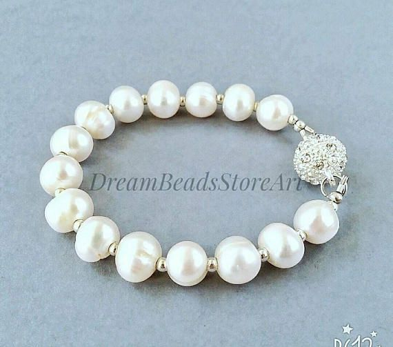 US$21.50 White cultured pearl Simple pearl jewelry Round real pearl