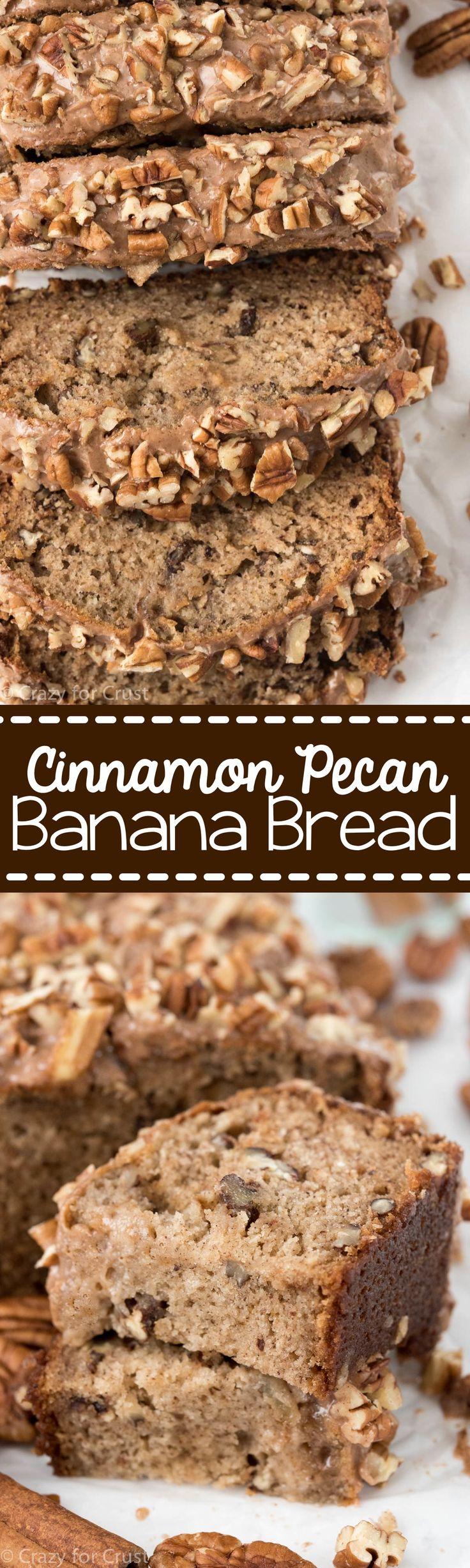 Cinnamon Pecan Banana Bread - the perfect easy banana bread recipe! My mom's banana bread recipe filled with cinnamon, pecans, and a cinnamon glaze!
