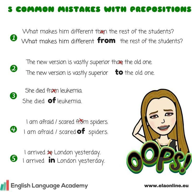 Anglická gramatika, Anglické predložky, Chyby s anglickými predložkami