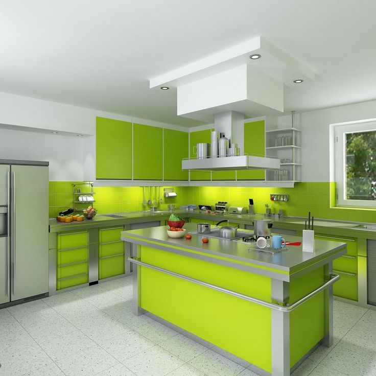 Superior Lime Green Cabinets #1 - Grey And Lime Green Interiors : Modern Green Kitchens For Design .