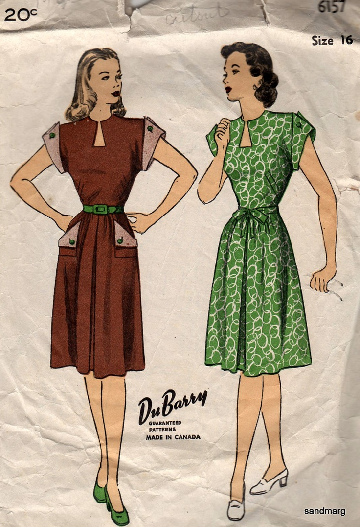 Vintage DuBarry 6157 Dress with Shaped Neckline Extended Shoulders Sewing Pattern 1940s Size 16 Bust 34. $21.99, via Etsy.