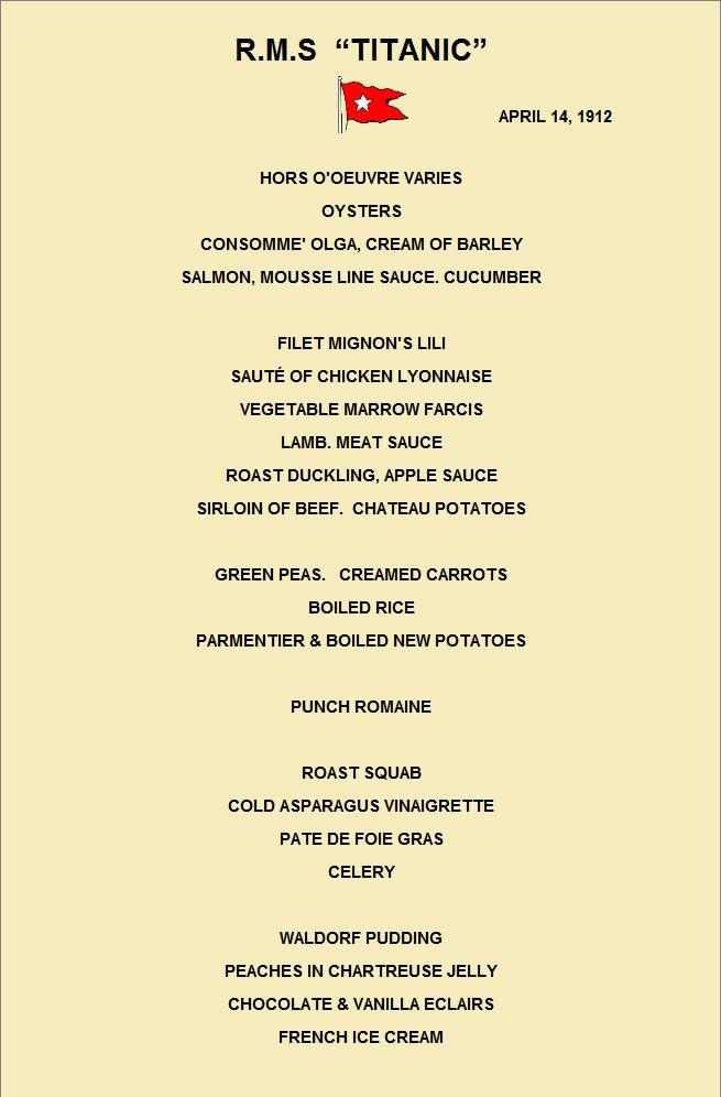 Titanic dinner menu April 14, 1912 (re-created)! Great date night in idea for a Titanic buff :]