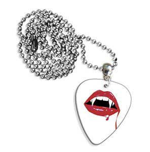 Vampire Teeth Guitare Mediator Pick Collier Necklace (GD)
