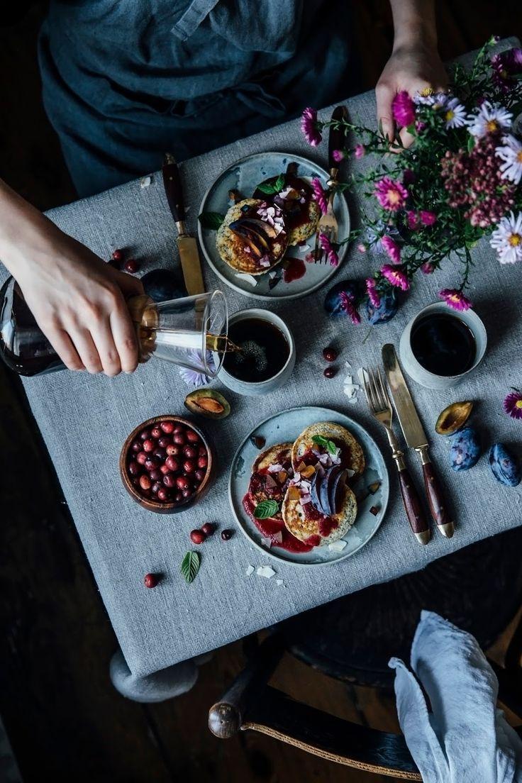 glutenfree poppyseed goat cheese pancakes with cranberry sauce for stefanie luxat's new book herzlich willkommen