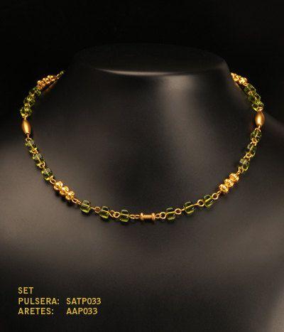 Collar manilla y aretes cubo peque o cristal checo verde for Bano de oro el yunque