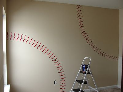 MEGAN!! this would be so cool for elijah's room...you know....if he's into baseball. lol.    This DIY House: Inspiration for Vintage Baseball and Football Boys Room!  For my sons room that will be sports themed.