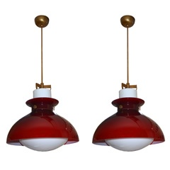 Pair Of  Ceiling Lights, Executed By Venini Murano, Italy.