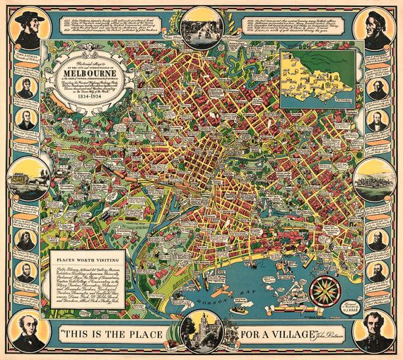 Vintage map of Melbourne Illustrated map of by AncientShades