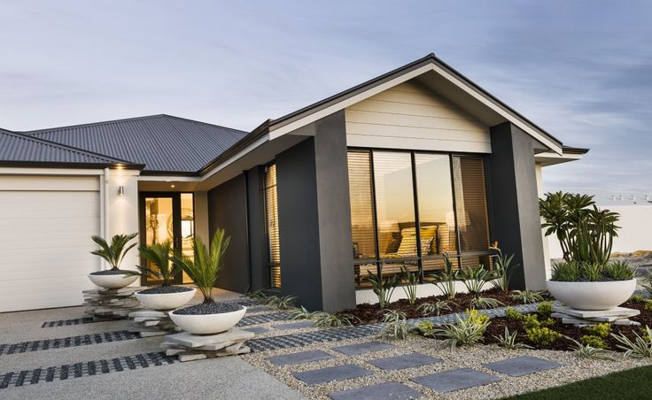 Striking elevation with feature gable planking, rendered facade and Colorbond roof