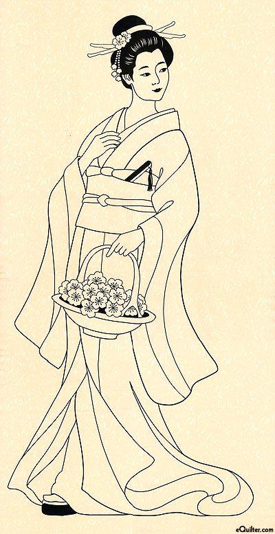 "ANGEI9EG  Graceful Geishas - Cherry Blossom Geisha - Cream- 24"" x44"" PANEL"