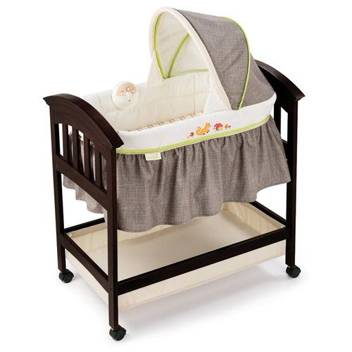 Summer Infant Classic Comfort Wood Bassinet - Fox and Friends - Wood Bassinet - Nursery - Soothing Melodies and Vibrations - Wheels to Move Easy - Expresso Hardwood Finish - Padded Mattress - Fitted Sheet - Large Storage Basket - Adjustable Canopy
