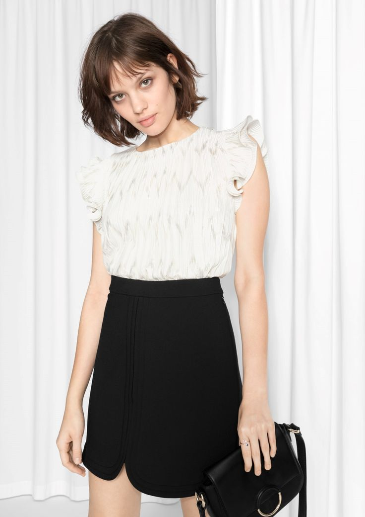 & Other Stories image 2 of Metallic Butterfly Sleeve Blouse in Off White
