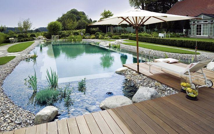 Das nenne ich doch mal einen schönen Garten. Gepflegter Rasen, sauberer Teich ist für die Fische auch sehr wichtig und auch für die Sauerstoff-Versorgung der Pflanzen...