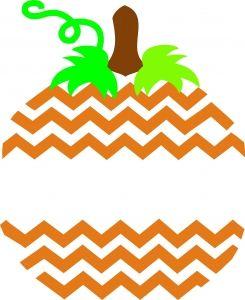 Chevron Striped Split Pumpkin SVG
