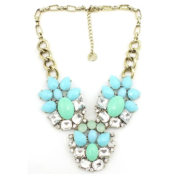 Light Blue and Mint Statement Necklace