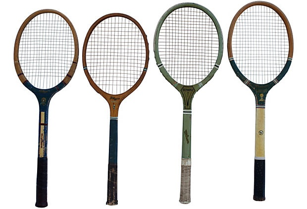 Wood Tennis Rackets, Set of 4 on OneKingsLane.com $199! Are they joking? My yard sale crap must be worth a fortune if someone will pay $199 for 4 old tennis rackets!
