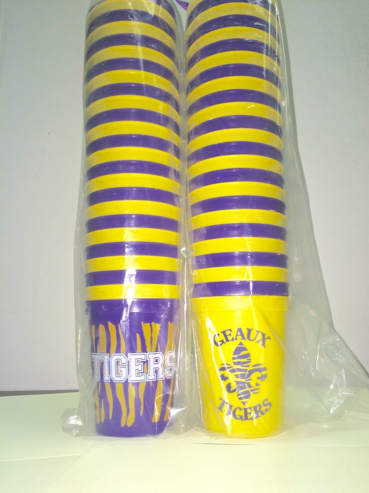 "LSU Geaux Tigers Cups - One side printed with ""Geaux Tigers"" and other with tiger fleur de lis."