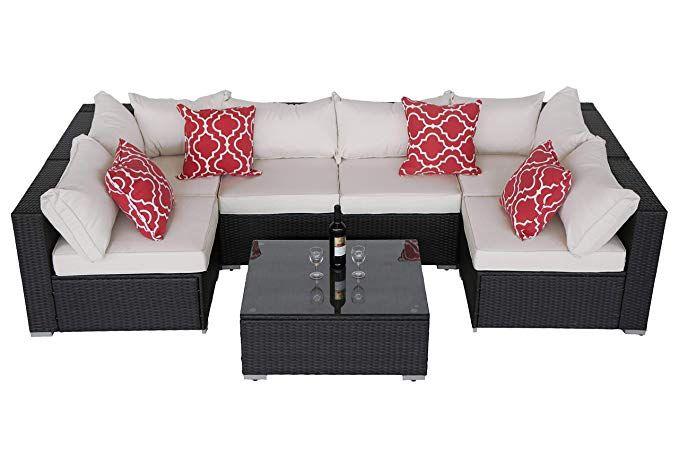 Amazon Com Do4u Patio Sofa 7 Piece Set Outdoor Furniture Sectional All Weather Wicker Rattan Sofa Beige S Outdoor Sectional Furniture Outdoor Sofa Rattan Sofa