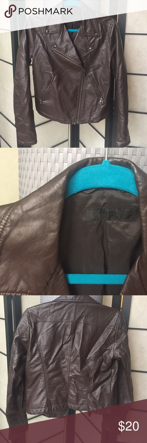 Faux/Fake leather moto jacket Stretchy brown faux leather jacket with polyester lining. Worn a few times then gains too much weight to keep it! Looks fab with floral dresses and tight skinny jeans! Uniqlo Jackets & Coats