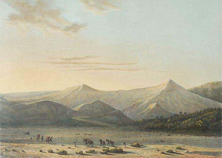 De vulkaan Bromo met paarden op de voorgrond. Abraham Salm, 1865-1872. Papier, 26,1 x 36,2 cm
