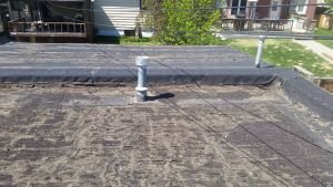 EPDM Roof Replacement Edmonton. Old Built Up Roof before replacement.