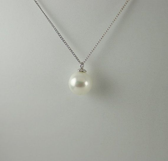 Pearl Pendant Single Pearl Necklace Simple by EtsyJewelleryForHer