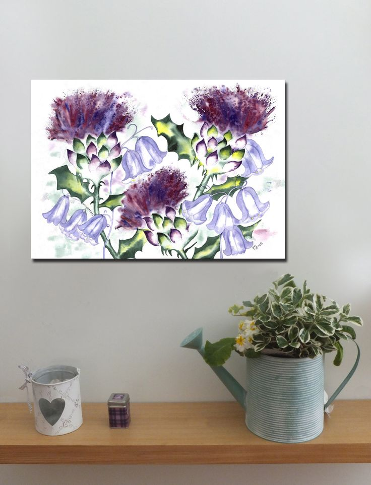 Thistle and Bluebells http://www.splashyartystory.com/shop/art-prints/thistles-and-bluebells-art-print-of-painting/