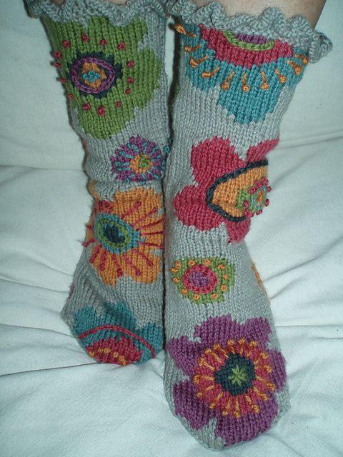 Ravelry: Diane11s Autumn flowers slipper socks