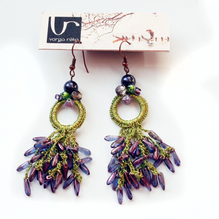 Long green crocheted earrings with tiny lilac petals  https://www.facebook.com/pages/Varga-Reka-design-jewellery/130139313694793