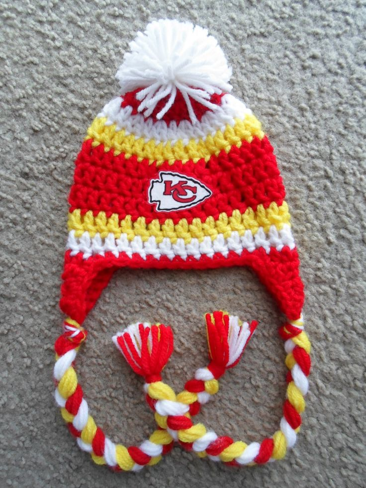 Kansas City Chiefs Football Hat w/Ear Flaps, Braids and Pom Pom: Sizes ...
