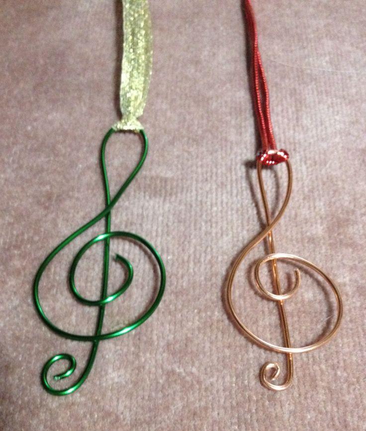 Wire treble clef ornaments   Nov. 27, 2013