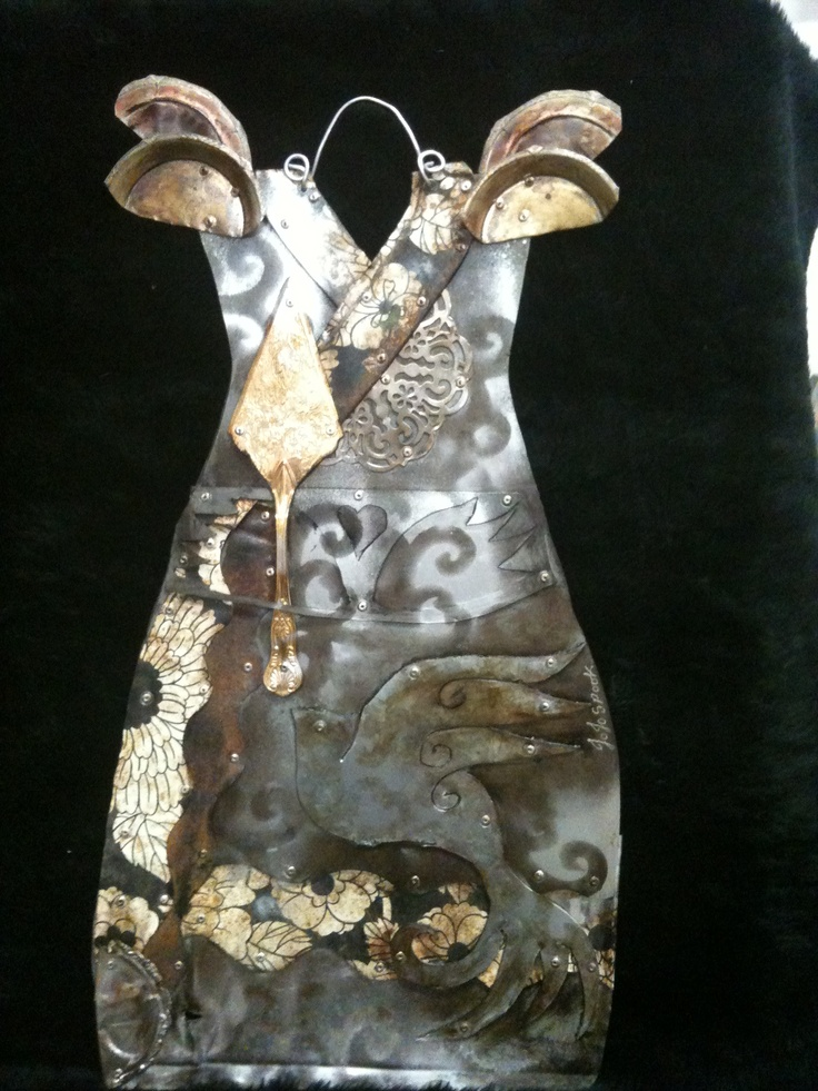 Cake tins and trays recycled kitchen utensils wall dress sculpture