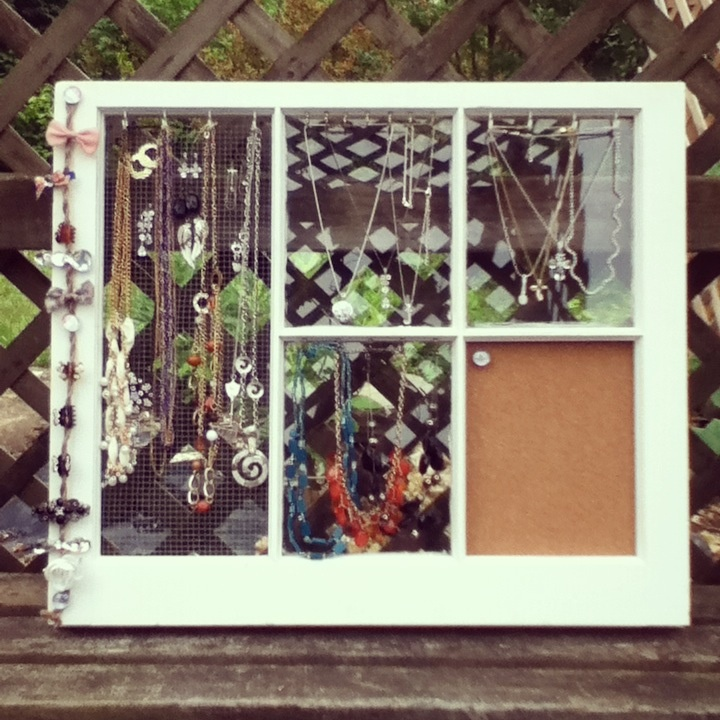 Old wooden window upcycled into a jewelry display diy for Repurposed jewelry holder