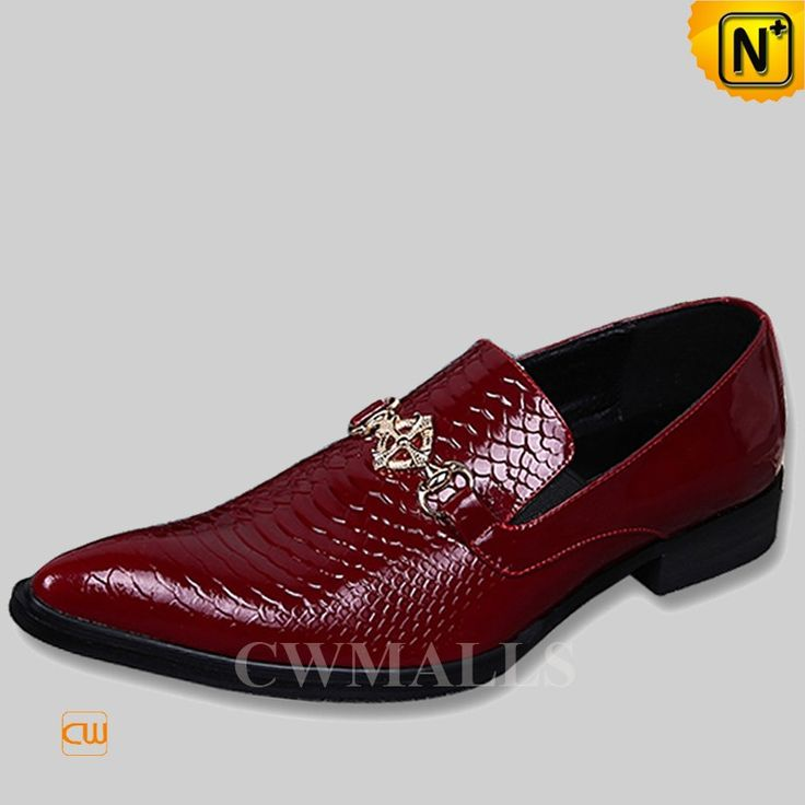 CWMALLS® Embossed Leather Loafers Shoes Red CW751011 - Purchase this embossed leather loafers shoes in red for men, convenient slip on design to easy on/off, made from embossed genuine cowhide leather to keep your feet comfy and breathable, the fashion and festive style is quite suitable to occasions like parties and weddings.